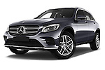 Stock pictures of low aggressive front three quarter view of 2016 Mercedes Benz GLC Launch Edition 5 Door Suv Low Aggressive