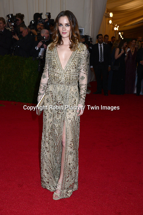 Leighton Meester attends the Costume Institute Benefit on May 5, 2014 at the Metropolitan Museum of Art in New York City, NY, USA. The gala celebrated the opening of Charles James: Beyond Fashion and the new Anna Wintour Costume Center.