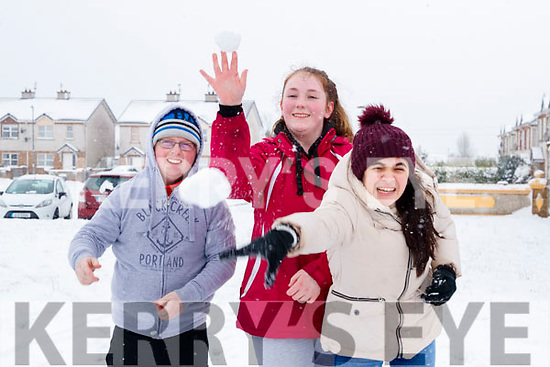 Kevin O'Connor, Jennifer Looney and Erica Thomas enjoying the snow in Lissarda, Listowel on Friday.
