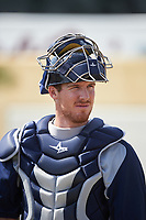 Brevard County Manatees catcher Gregory McCall (44) before a game against the Lakeland Flying Tigers on April 20, 2016 at Henley Field in Lakeland, Florida.  Lakeland defeated Brevard County 5-2.  (Mike Janes/Four Seam Images)