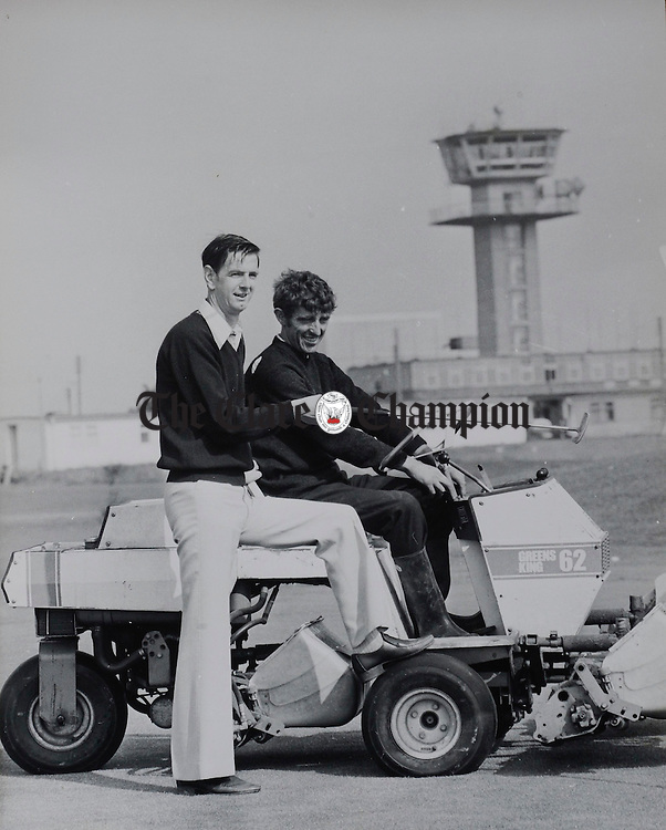 Pat Henchy, right who is retiring from the greenkeeper staff of Shannon Golf  after 37years service, in an old file photo. Photograph by John Kelly.