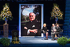 Mar. 4, 2015; Emcee Anne Thompson chats with former Senator Harris Wofford and Notre Dame Board of Trustees member Martin W. Rodgers during a tribute ceremony in the Purcell Pavilion to honor the life of the late President Emeritus Rev. Theodore M. Hesburgh, C.S.C. (Photo by Matt Cashore/University of Notre Dame)
