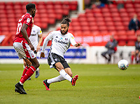 7th July 2020; City Ground, Nottinghamshire, Midlands, England; English Championship Football, Nottingham Forest versus Fulham; Michael Hector of Fulham provides their first shot at goal late in the first half