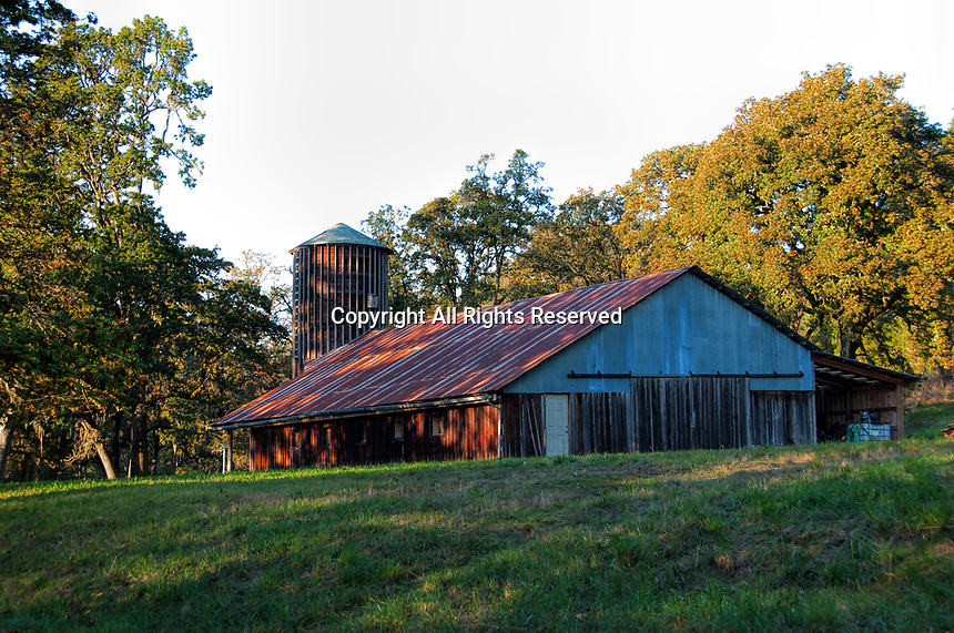 An old barn used to maintain the grounds. Early Fall at Howard Buford County Park (aka Mt. Pisgah Arboretum), outside Eugene, Oregon.