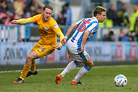 Huddersfield Town's Chris Lowe gets away from Preston North End's Aidan McGeady<br /> <br /> Photographer Alex Dodd/CameraSport<br /> <br /> The EFL Sky Bet Championship - Huddersfield Town v Preston North End - Friday 14th April 2016 - The John Smith's Stadium - Huddersfield<br /> <br /> World Copyright &copy; 2017 CameraSport. All rights reserved. 43 Linden Ave. Countesthorpe. Leicester. England. LE8 5PG - Tel: +44 (0) 116 277 4147 - admin@camerasport.com - www.camerasport.com