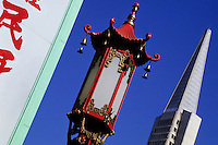 The Transamerica Pyramid building and a chinese reed lamp in Chinatown, San Francisco California, USA. The close up is angled  30 degrees foto, reise, photograph, image, images, photo,<br /> photos, photography, picture, pictures, urlaub, viaje, vacation, imagen, viagi, stock
