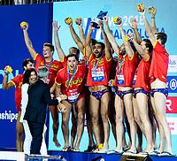 Team SPAIN Silver Medal <br /> Barcelona 28/07/2018 Piscines Bernat Picornell <br /> Men Medal Ceremony <br /> 33rd LEN European Water Polo Championships - Barcelona 2018 <br /> Photo Andrea Staccioli/Deepbluemedia/Insidefoto