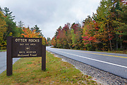 Otter Rocks Day Use Area along the Kancamagus Highway (route 112) in Lincoln, New Hampshire during the autumn months. The Kancamagus Highway is one of New England's scenic byways.