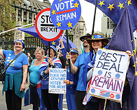 Anti-Brexit protesters seen holding European Union Flags and banners outside the Houses of Parliament in Westminster, London on the eve of the European Parliament elections.May 22nd 2019<br /> <br /> Photo by Keith Mayhew