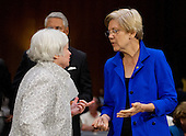 "Janet L. Yellen, Chair, Board of Governors of the Federal Reserve System, left, and United States Senator Elizabeth Warren (Democrat of Massachusetts), right, share some thoughts following Yellen's testimony before the U.S. Senate Committee on Banking, Housing and Urban Affairs on ""The Semiannual Monetary Policy Report to the Congress."" on Capitol Hill in Washington, D.C. on Tuesday, July 15, 2014.<br /> Credit: Ron Sachs / CNP"