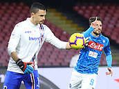 2nd February 2019, Stadio San Paolo, Naples, Italy; Serie A football, Napoli versus Sampdoria;  Simone Verdi of Napoli celebrates as he scores from the penalty  spot for 3-0