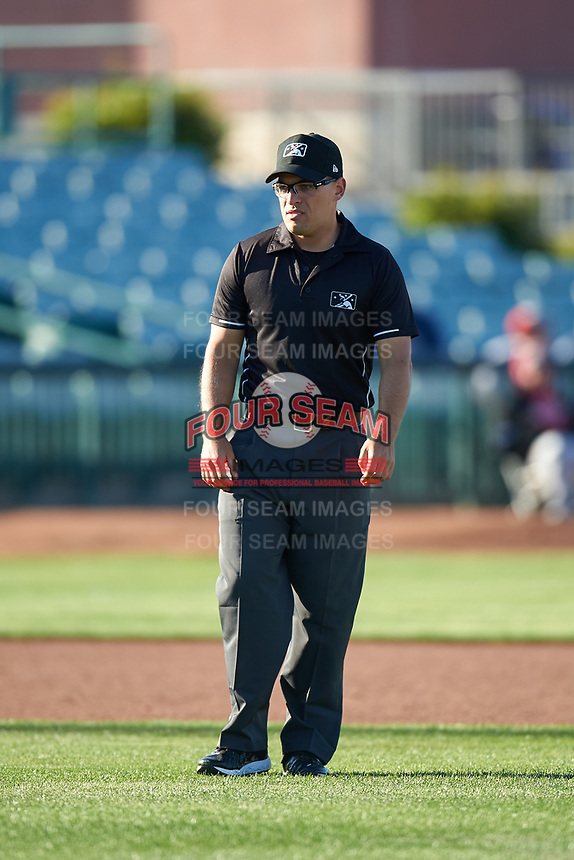 Field umpire Randy Wilmes during a California League game between the Lancaster JetHawks and Lake Elsinore Storm on April 10, 2019 in Lancaster, California. Lake Elsinore defeated Lancaster 10-0 in the first game of a doubleheader. (Zachary Lucy/Four Seam Images)