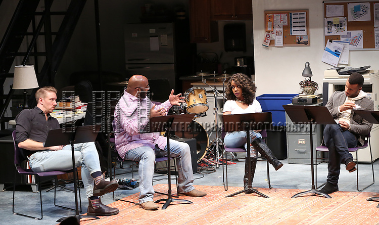 "Cast of ""Imagine Sisyphus Happy"" during the 2018 Presentation of New Works by the DGF Fellows on October 15, 2018 at the Playwrights Horizons Theatre in New York City."