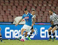 Napoli's Marek Hamsik controls the ball during the  italian serie a soccer match ag SSC Napoli,    at  the San  Paolo   stadium in Naples  Italy , September 26 , 2015