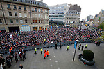 Fans gather outside the town hall during the open top bus parade from Bramall Lane Stadium to Sheffield Town Hall, Sheffield. Picture date: May 2nd 2017. Pic credit should read: Simon Bellis/Sportimage