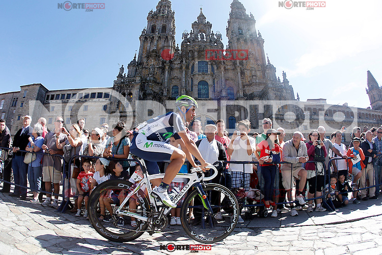 Jonathan Castroviejo passes by the front of the Obradoiro of the Cathedral of Santiago de Compostela before the stage of La Vuelta 2012 between Santiago de Compostela and Ferrol.August 31,2012. (ALTERPHOTOS/Acero)