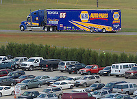 Apr 28, 2007; Talladega, AL, USA; The hauler of Nascar Nextel Cup Series driver Michael Waltrip (55) leaves the track after failing to qualify for the Aarons 499 at Talladega Superspeedway. Mandatory Credit: Mark J. Rebilas