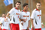 12 November 2008: Maryland's Matt Kassel (8), Doug Rodkey (5), and Casey Townsend (7). The University of Maryland defeated the University of North Carolina 1-0 at Koka Booth Stadium at WakeMed Soccer Park in Cary, NC in a men's ACC tournament quarterfinal game.