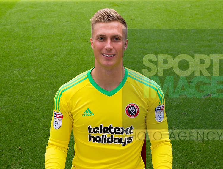 Simon Moore of Sheffield Utd during the 2017/18 Photocall at Bramall Lane Stadium, Sheffield. Picture date 7th September 2017. Picture credit should read: Sportimage