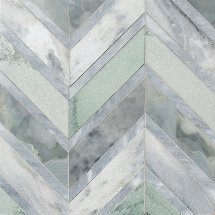 Raj Grand, a stone hand-cut mosaic, shown in polished Pacifica, Kay's Green, and Allure, is part of the Semplice® collection for New Ravenna.