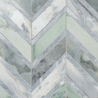 Raj Grand, a stone hand-cut mosaic, shown in polished Pacifica, Kay's Green, and Allure, is part of the Semplice™ collection for New Ravenna.