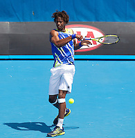 GAEL MONFILS (FRA) against MARKO MATOSEVIC  (AUS) in the first round of the Men's Singles. Gael Monfils beat Marko Matosevic  7-6 6-3 6-3 ..17/01/2012, 17th January 2012, 17.01.2012..The Australian Open, Melbourne Park, Melbourne,Victoria, Australia.@AMN IMAGES, Frey, Advantage Media Network, 30, Cleveland Street, London, W1T 4JD .Tel - +44 208 947 0100..email - mfrey@advantagemedianet.com..www.amnimages.photoshelter.com.