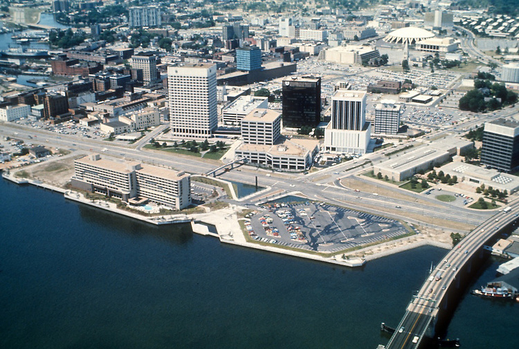 1977 June ..Redevelopment.Downtown South (R-9)..WATERFONT AERIAL.LOOKING NORTHWEST...NEG#.NRHA# 5499..