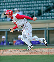 Designated hitter Jake Romano (1) of the Miami (Ohio) Redhawks hits in a game against the Furman Paladins on Sunday, February 17, 2013, at Fluor Field at the West End in Greenville, South Carolina. Furman won, 6-5. (Tom Priddy/Four Seam Images).
