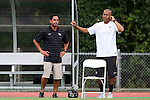 04 September 2015: Wake Forest head coach Tony da Luz (left) with assistant coach Jason Lowe (right). The Wake Forest University Demon Deacons played the William & Mary University Tribe at Dail Soccer Field in Raleigh, NC in a 2015 NCAA Division I Women's Soccer game. The game ended in a 1-1 tie.