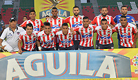 IBAGUÉ - COLOMBIA, 18-02-2018:Formación del Atlético Junior contra el Atlético Huila  durante partido por la fecha 4 de la Liga Águila I 2018 jugado en el estadio Manuel Murillo Toro de la ciudad de Ibagué. / Team of Atletico Junior agaisnt Atletico Huila  during match for the date 4 of the Aguila League I 2018 played at Manuel Murillo Toro in Ibague city. VizzorImage / Juan Carlos Escobar / Contribuidor