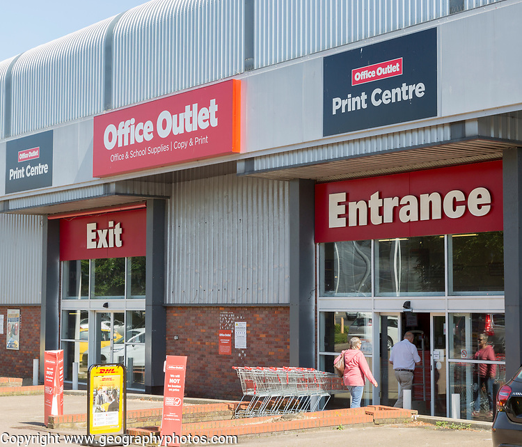 Office Outlet print centre store shop entrance and exit, Russel Road, Ipswich, Suffolk, England, UK