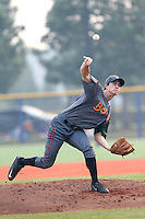 Colin Welmon (41) of the Boise Hawks pitches during a game against the Hillsboro Hops at Ron Tonkin Field on August 22, 2015 in Hillsboro, Oregon. Boise defeated Hillsboro, 6-4. (Larry Goren/Four Seam Images)