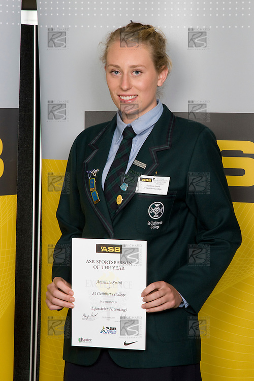Girls Equestrian (Eventing) winner Araminta Smith from St Cuthbert's School. ASB College Sport Young Sportperson of the Year Awards 2008 held at Eden Park, Auckland, on Thursday November 13th, 2008.