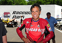 Jun. 2, 2012; Englishtown, NJ, USA: NHRA pro stock motorcycle rider Hector Arana Sr during qualifying for the Supernationals at Raceway Park. Mandatory Credit: Mark J. Rebilas-