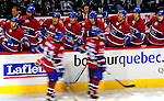 4 December 2008: Members of the Montreal Canadiens celebrate a third period goal against the New York Rangers during their first meeting of the season at the Bell Centre in Montreal, Quebec, Canada. The Canadiens, celebrating their 100th season, played in the circa 1915-1916 uniforms for the evenings' Original Six matchup. The Canadiens defeated the Rangers 6-2. *****Editorial Use Only*****..Mandatory Photo Credit: Ed Wolfstein Photo