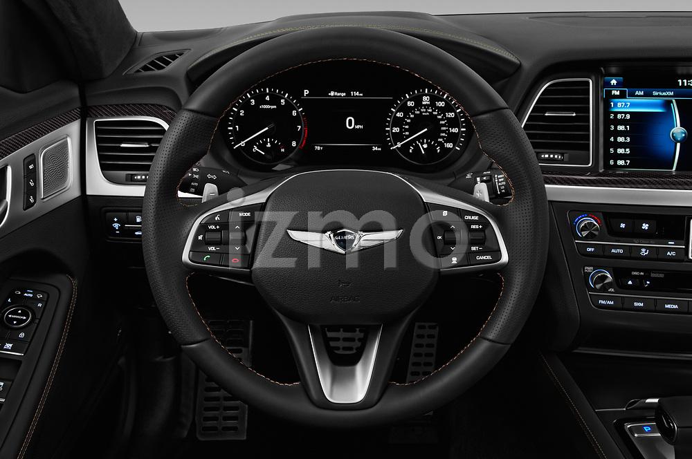 Car pictures of steering wheel view of a 2018 Genesis G80 Sport 4 Door Sedan