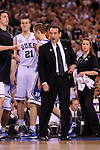 5 APR 2010: Duke head coach Mike Krzyzewski shouts at an official during the championship game of the Men's Final Four Basketball Championship held at Lucas Oil Stadium in Indianapolis, IN. Duke went on to defeat Butler 61-59 to claim the championship title. Rich Clarkson/NCAA Photos