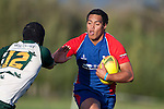 Ardmore Marist fullback Leon Ellia looks to fend off Darryl Wihape as he counter attacks. Counties Manukau Premier Rugby game between Ardmore Marist  and Manurewa played at Bruce Pulman Park Papakura on May 14th 2011. Ardmore Marist won 48 - 10 after leading 29 - 3 at halftime.