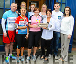 Big Blue Box BOI cycle Kenmare<br /> Pic shows  tom keane, Laura cambell margrett horan Sarah durkin who accepted gift from bantry on behalf of community in kenmare, margrett o donoghue, clare o Sullivan Emma corridon, anita mc carthy, conor o loughlin