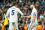 Real Madrid's Karim Benzema , Raphael Varane during Champions League match between Real Madrid and Borussia Dortmund  at Santiago Bernabeu Stadium in Madrid , Spain. December 07, 2016. (ALTERPHOTOS/Rodrigo Jimenez)