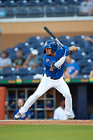 Kean Wong (5) of the Durham Bulls at bat against the Louisville Bats at Durham Bulls Athletic Park on May 28, 2019 in Durham, North Carolina. The Bulls defeated the Bats 18-3. (Brian Westerholt/Four Seam Images)