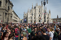 A panoramic view of Dome Square during 25 April demonstration italian liberation of Nazi Fascism World War II thanks by partigiani, on April 25, 2014. Photo: Adamo Di Loreto/BuenaVista*photo