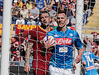 Arkadiusz Milik of Napoli   and Edin Dzeko of AS Roma  during the  italian serie a soccer match, AS Roma -  SSC Napoli       at  the Stadio Olimpico in Rome  Italy , March 31, 2019
