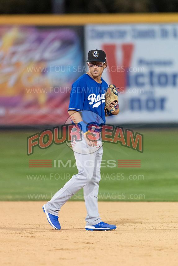 Rancho Cucamonga Quakes second baseman Brandon Montgomery (12) during a California League game against the Visalia Rawhide on April 9, 2019 in Visalia, California. Visalia defeated Rancho Cucamonga 8-5. (Zachary Lucy/Four Seam Images)
