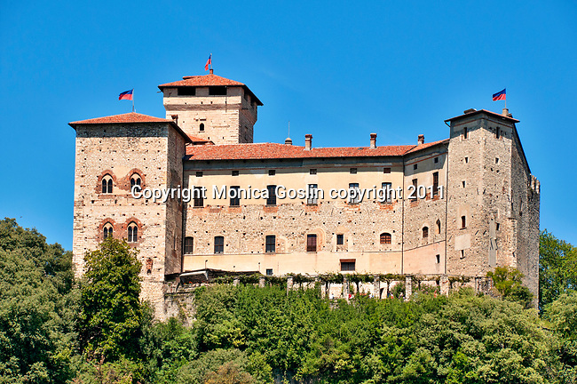 Rocca di Angera, the castle of Angera, a town on Lake Maggiore, Italy. The Rocca di Angera has five areas built from the 12th to 14th centuries and belongs to the Visconti family, although it is a museum and tourist attraction