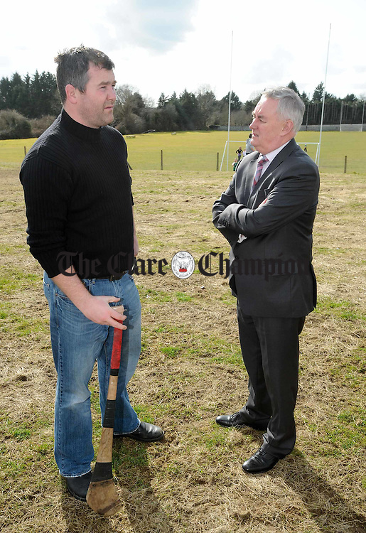 Former Munster and Ireland rugby player and Smith O Briens club member Anthony Foley with GAA President Christy Cooney at the launch of the Smith O Briens GAA Club Development Plan 2010-2015. Photograph by John Kelly.