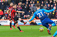 Ryan Fraser of AFC Bournemouth left has his shot blocked by Calum Chambers of Arsenal during AFC Bournemouth vs Arsenal, Premier League Football at the Vitality Stadium on 14th January 2018