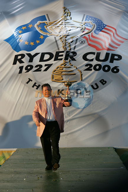 24th September, 2006. European Ryder Cup Team captain Ian Woosnam congratulates holding the ryder cup after beating the American Team in the final day of the  Ryder Cup at the K Club in Straffan, County Kildare in the Republic of Ireland..Photo: Fran Caffrey/ Newsfile.