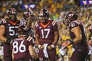 Landover, MD - September 3, 2017: Virginia Tech Hokies quarterback Josh Jackson (17) celebrates after scoring a touchdown during game between Virginia Tech and WVA at  FedEx Field in Landover, MD.  (Photo by Elliott Brown/Media Images International)