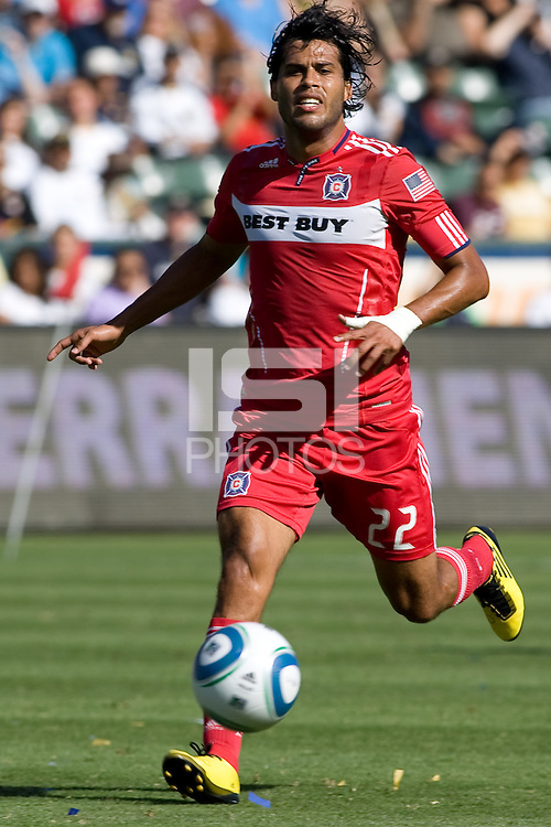 Wilman Conde of Chicago Fire moves to the ball. The Chicago Fire beat the LA Galaxy 3-2 at Home Depot Center stadium in Carson, California on Sunday August 1, 2010.